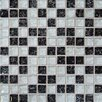 Bedrosians Ice Crackle Glass Glossy Mosaic in Black and Gray