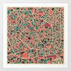Epic Art 'Retro City Map Milan' by Jazzberry Blue Graphic Art on Canvas