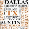 <strong>Texas Textual Art on Canvas in Color</strong> by Epic Art