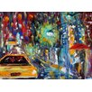 Epic Art 'City Rain' by Karen Tarlton Painting Print on Canvas