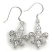 <strong>Splendor Jewelry</strong> Fleur de Lis Cubic Zirconia Drop Earrings