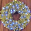 <strong>Pre-Lit LED Blue Sequoia Wreath</strong> by Queens of Christmas