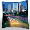Maxwell Dickson Traffic on the Road at Night, Allen Parkway, Houston, Texas, USA Throw Pillow