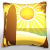 Maxwell Dickson Silhouette of Surfer on Beach Throw Pillow