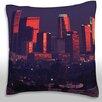 Maxwell Dickson Los Angeles City Skyline, Night Time Throw Pillow