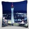 Maxwell Dickson Las Vegas by Night Throw Pillow