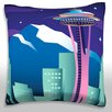 Maxwell Dickson A View of the Skyline in Seattle WA Throw Pillow
