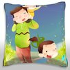 Maxwell Dickson Mother and Children at Outdoor Throw Pillow