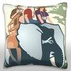 Maxwell Dickson A Family Riding on A Safari Throw Pillow