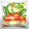 Maxwell Dickson Toad Sitting on Mushroom Licking Lips Throw Pillow