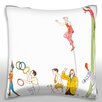 Maxwell Dickson Illustration of Circus Performers in a Parade Throw Pillow