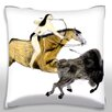 Maxwell Dickson Painting of Native American Hunting Bison Throw Pillow