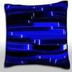 Maxwell Dickson Abstract Horizontal Pattern Bars in Blue Throw Pillow