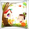 Maxwell Dickson Girl Looking at Bird House Throw Pillow