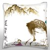 Maxwell Dickson Children Playing with Deer and Chinese Text Throw Pillow