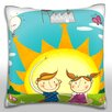 Maxwell Dickson Boy and Girl Showing the Use of Solar Energy Throw Pillow