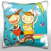 Maxwell Dickson Children Flying in Sky on Bicycle Throw Pillow