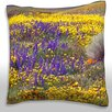 Maxwell Dickson High Angle View of Wildflowers in a Field Throw Pillow
