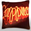 Maxwell Dickson Neon Cappuccino Sign Throw Pillow