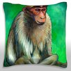 Maxwell Dickson Portrait of Macaque Monkey Throw Pillow