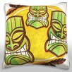 Maxwell Dickson Polynesian Tiki Masks Throw Pillow