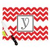 KESS InHouse Monogram Chevron Red Cutting Board