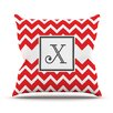KESS InHouse Monogram Chevron Red Throw Pillow