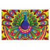 KESS InHouse Peacolor by Roberlan Rainbow Peacock Decorative Doormat