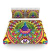 KESS InHouse Peacolor by Roberlan Rainbow Peacock Cotton Duvet Cover
