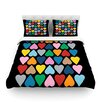 KESS InHouse Up and Down Hearts on Black by Project M Cotton Duvet Cover