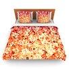 KESS InHouse Flower Power in Orange by Ebi Emporium Woven Duvet Cover