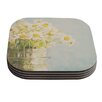 KESS InHouse O Daisy by Laura Evans Green Yellow Coaster (Set of 4)