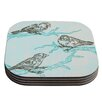 KESS InHouse Birds in Trees by Sam Posnick Coaster (Set of 4)