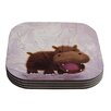 KESS InHouse The Happy Hippo by Rachel Kokko Coaster (Set of 4)