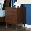 South Shore Olly Mid-Century Modern 2 Drawer Nightstand