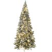 Jolly Workshop 8' Flocked Magnolia Fir Artificial Christmas Tree with 450 LED Warm Lights and Metal Stand