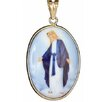 <strong>Museum 14K Gold Blessed Mother Enameled Porcelain Pendant</strong> by Sasson Jewelry
