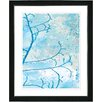 "Studio Works Modern ""Filigree Flower Branches - Turquoise"" by Zhee Singer Framed Fine Art Giclee Painting Print"