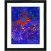 "Studio Works Modern ""Blue Abstract Daisies - Red"" by Zhee Singer Framed Fine Art Giclee Painting Print"