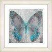 "Studio Works Modern ""Dusk Butterfly - Turquoise"" by Zhee Singer Framed Fine Art Giclee Print"
