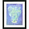 "Studio Works Modern ""Blue Dansing Bud - Ocean Blue"" by Zhee Singer Framed Fine Art Giclee Painting Print"