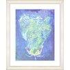 "Studio Works Modern ""Blue Dansing Bud - Ocean Blue"" by Zhee Singer Framed Fine Art Giclee Print"