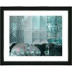 "Studio Works Modern ""Urban Puzzle - Turquoise"" by Zhee Singer Framed Fine Art Giclee Painting Print"