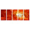 Pure Art Abstract Sculptures Fire and Ice 5 Piece Original Painting Plaque Set