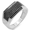 <strong>Dazzling Rock</strong> Men's Sterling Silver Round Cut Diamond Flashy Hip Hop Pinky Ring