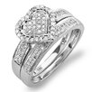<strong>10K White Gold Round Cut Diamond Heart Bridal Set</strong> by Dazzling Rock