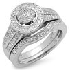 Dazzling Rock Sterling Silver Round Cut Diamond Bridal Set