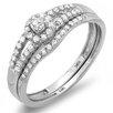<strong>Dazzling Rock</strong> 14K White Gold Round Cut Diamond Bridal Set