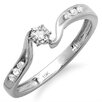 <strong>10K White Gold Round Cut Diamond Promise Ring</strong> by Dazzling Rock