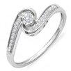 Dazzling Rock 10K White Gold Round Cut Diamond Swirl Promise Ring